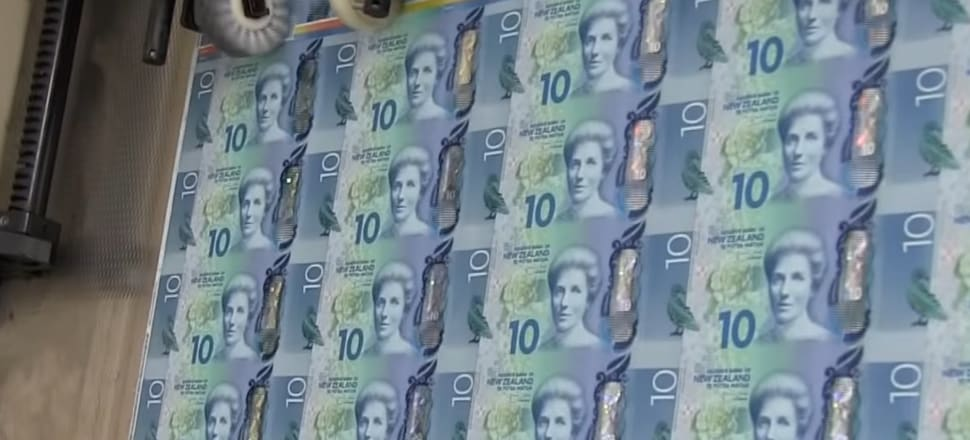 New Zealand's series seven polymer $10 banknotes being printed by Canadian Bank Note Company in Ottawa, Canada. Photo: Supplied (screen shot of RBNZ video). image