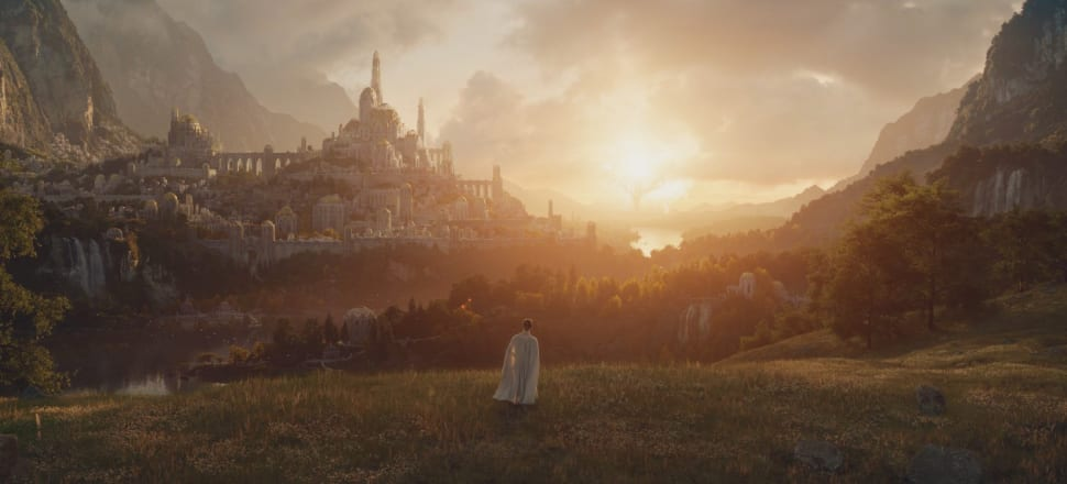 This week Amazon Studios released the first still image from its new Lord of the Rings original TV series. Fans believe it depicts a city in Valinor. Photo: Supplied/Amazon