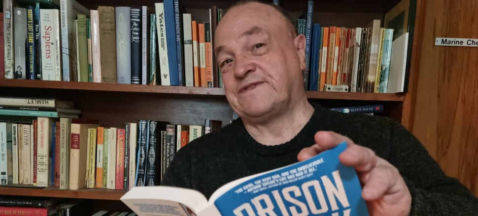 """This week's bookcase star is ex-jailbird Arthur Taylor, pictured at his Dunedin home with his newly published memoir, Prison Break: The Extraordinary Life and Crimes of New Zealand's Most Infamous Escapee (Allen & Unwin, $37). He writes, """"Just off to report in at probation.  Yes I did lots of reading in prison - it's what kept me sane during my lengthy periods in solitary confinement. Started with Reader's Digests. One of the nicest thoughts coming  through about having written my book  is that some of the people who I taught to read in prison will be able to enjoy my book as a result of that."""""""